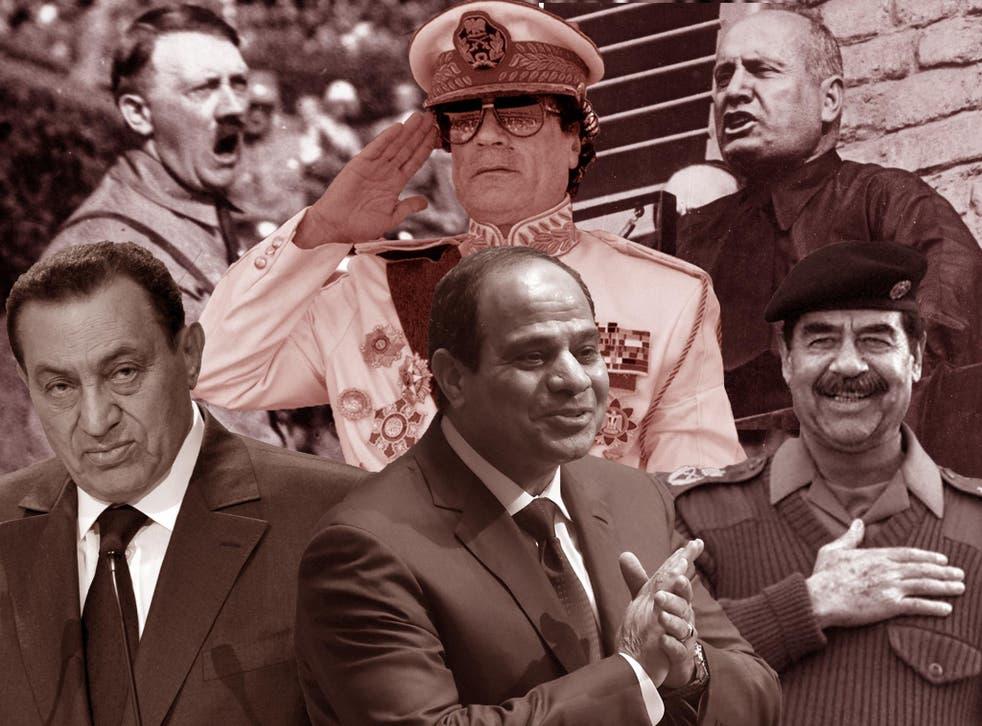 Clockwise from bottom left: Hosni Mubarak; Adolf Hitler; Colonel Gaddafi; Benito Mussolini; Saddam Hussein; and Abdel Fattah al-Sisi