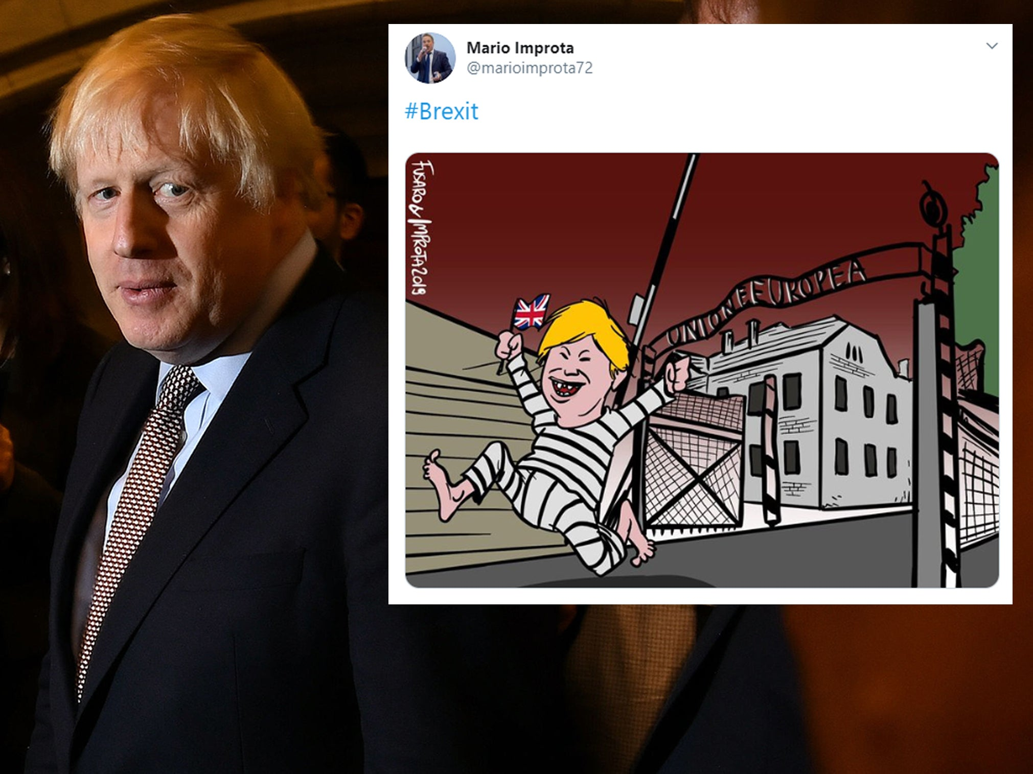 Italian cartoonist sparks outrage for depicting EU as Auschwitz and Boris Johnson as escaping prisoner