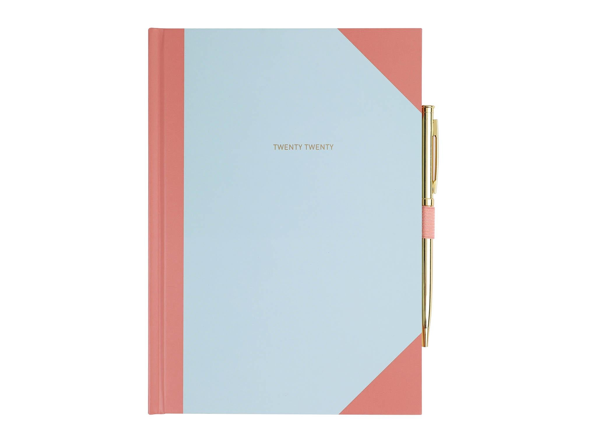 2019 Slim Week to View Dairy metal Corner Executive Leather Effect Diary Office