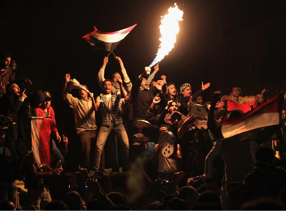 Celebrations in Tahrir Square, Cairo, after Egyptian President Hosni Mubarak resigned on 11 February 2011