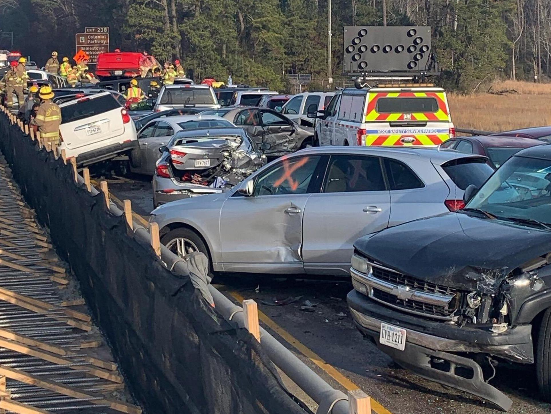 Dozens of people injured in 69-car pile-up on busy road