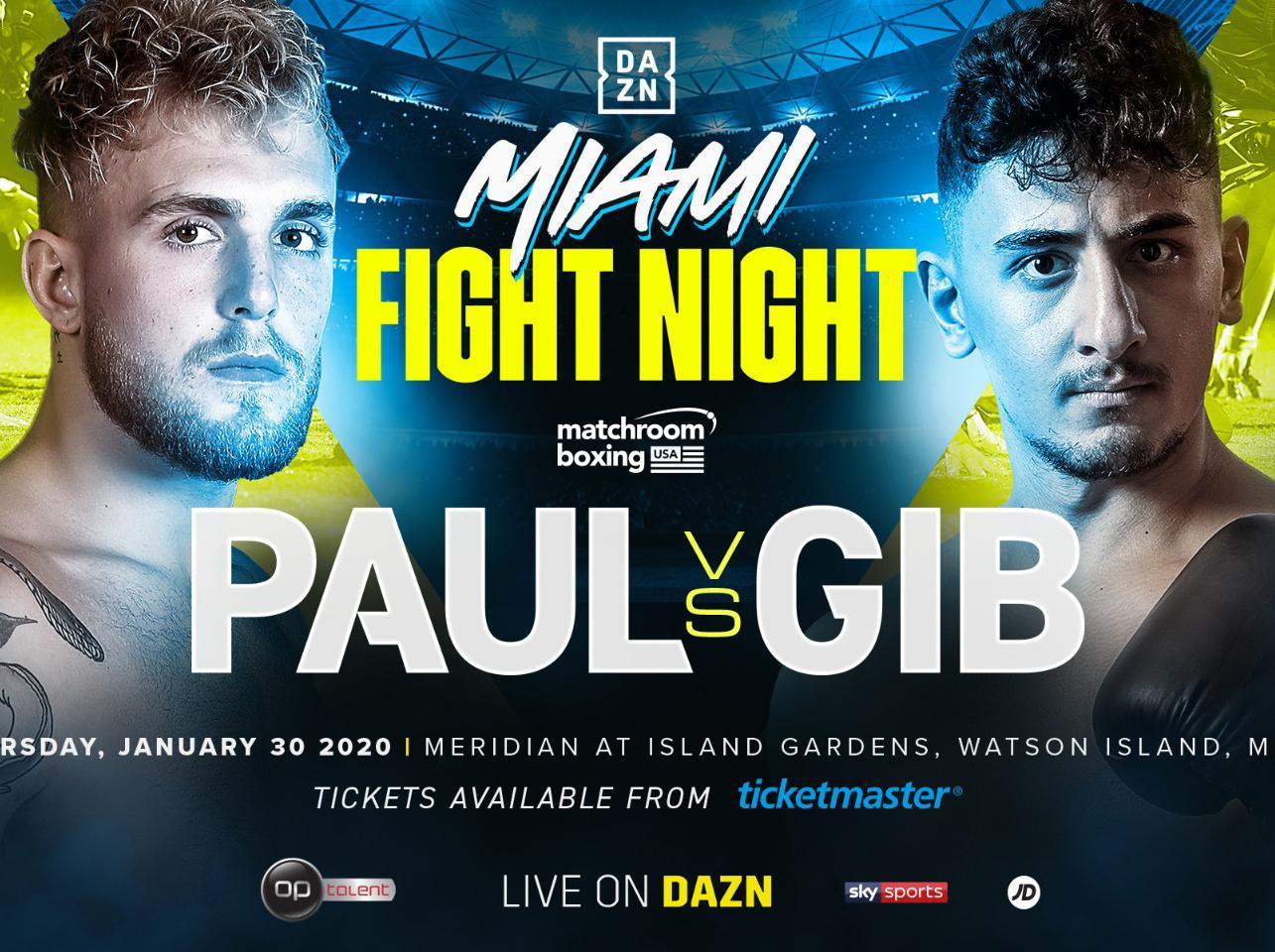 Jake Paul vs Gib: YouTube fight confirmed by Matchroom ...