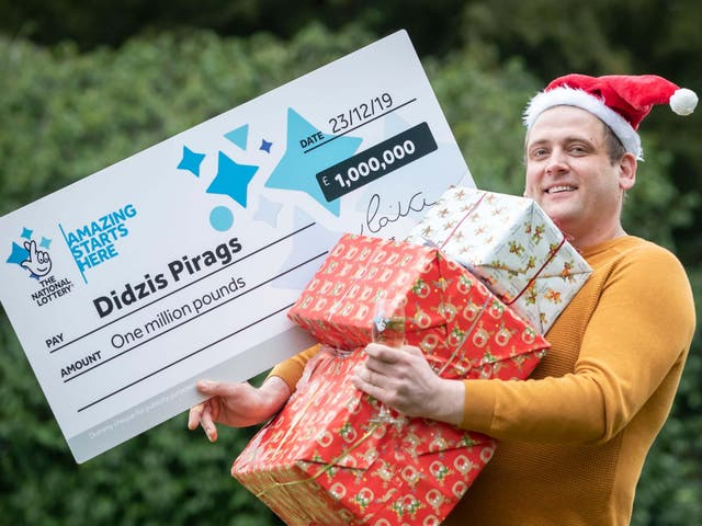 Didzis Pirags celebrates his National Lottery Merry Millions win in Preston