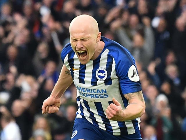 Aaron Mooy celebrates after scoring Brighton's second goal