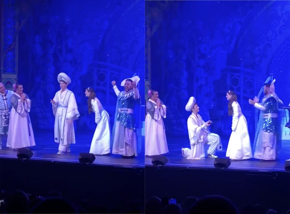 Aladdin proposes to Jasmine at end of Leicester pantomime
