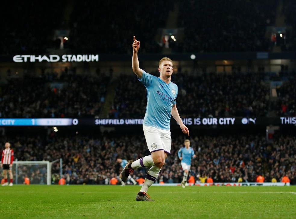 Kevin De Bruyne celebrates scoring Liverpool's second goal