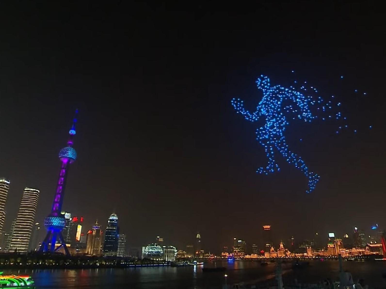 Thousands of drones fill skies above China to create giant running man