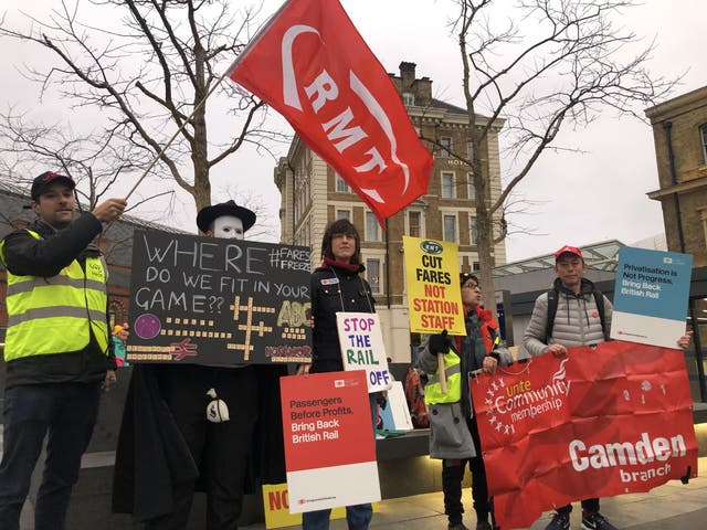 Protest movement: demonstrators outside King's Cross station in London on the day of a fares rise