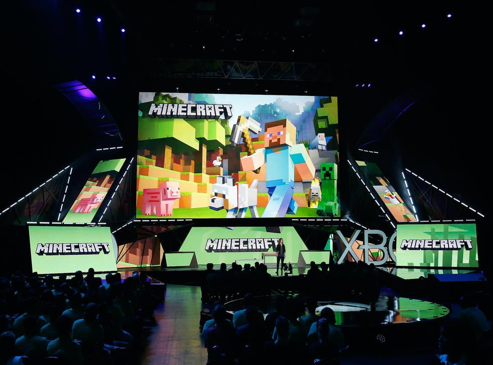 """Mojang's """"Director of Fun"""" Lydia Winters speaks about 'Minecraft' during the Microsoft Xbox E3 press conference at the Galen Center on June 15, 2015 in Los Angeles, California"""
