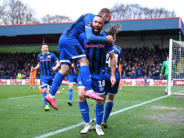 Aaron Wilbraham celebrates scoring Rochdale's equaliser