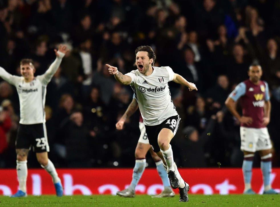 Harry Arter celebrates after lashing home Fulham's winner against Aston Villa