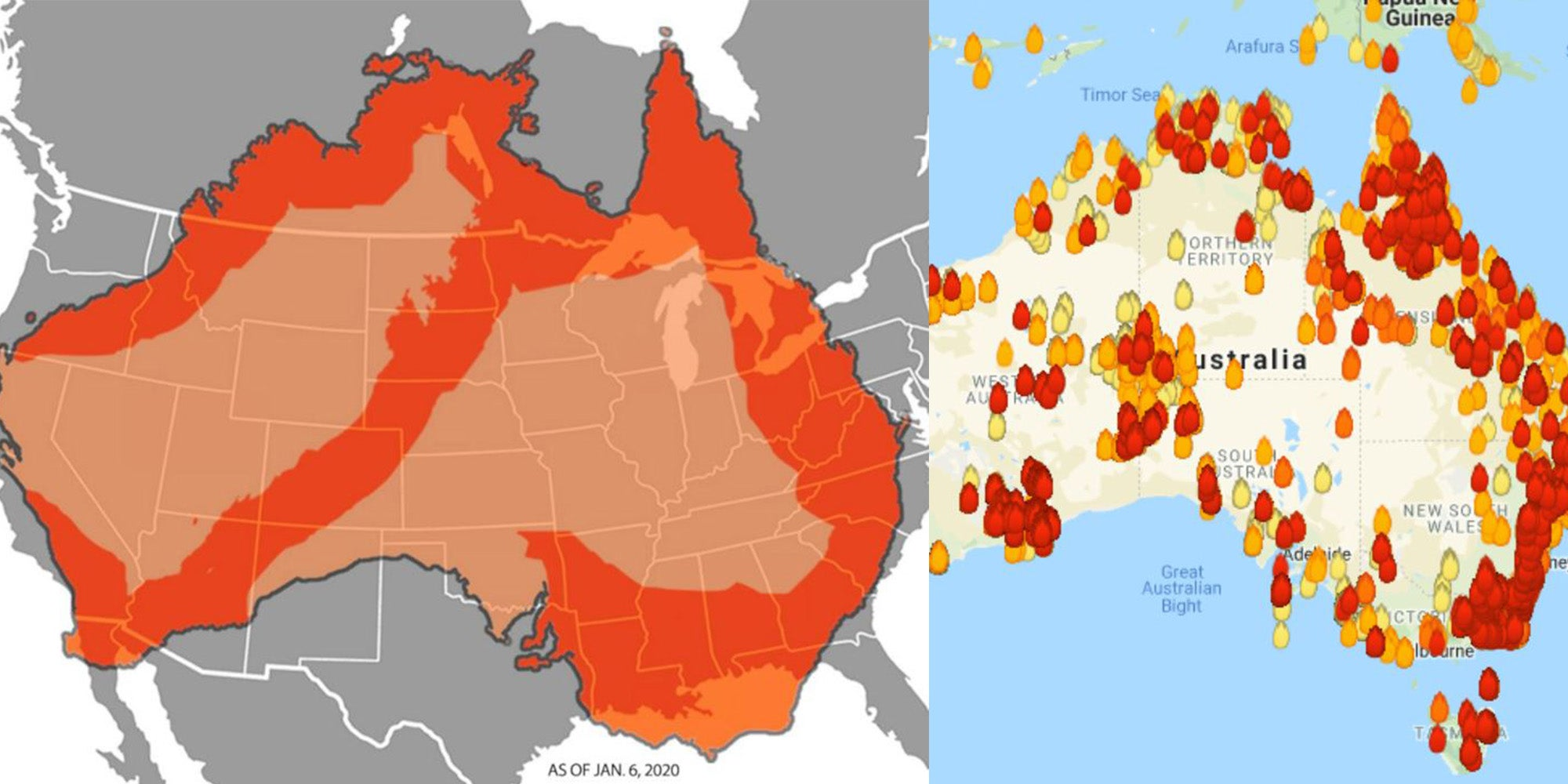 Map Of Australia Fires 2020.Australia Wildfires Some Of The Maps Showing The Extent Of The