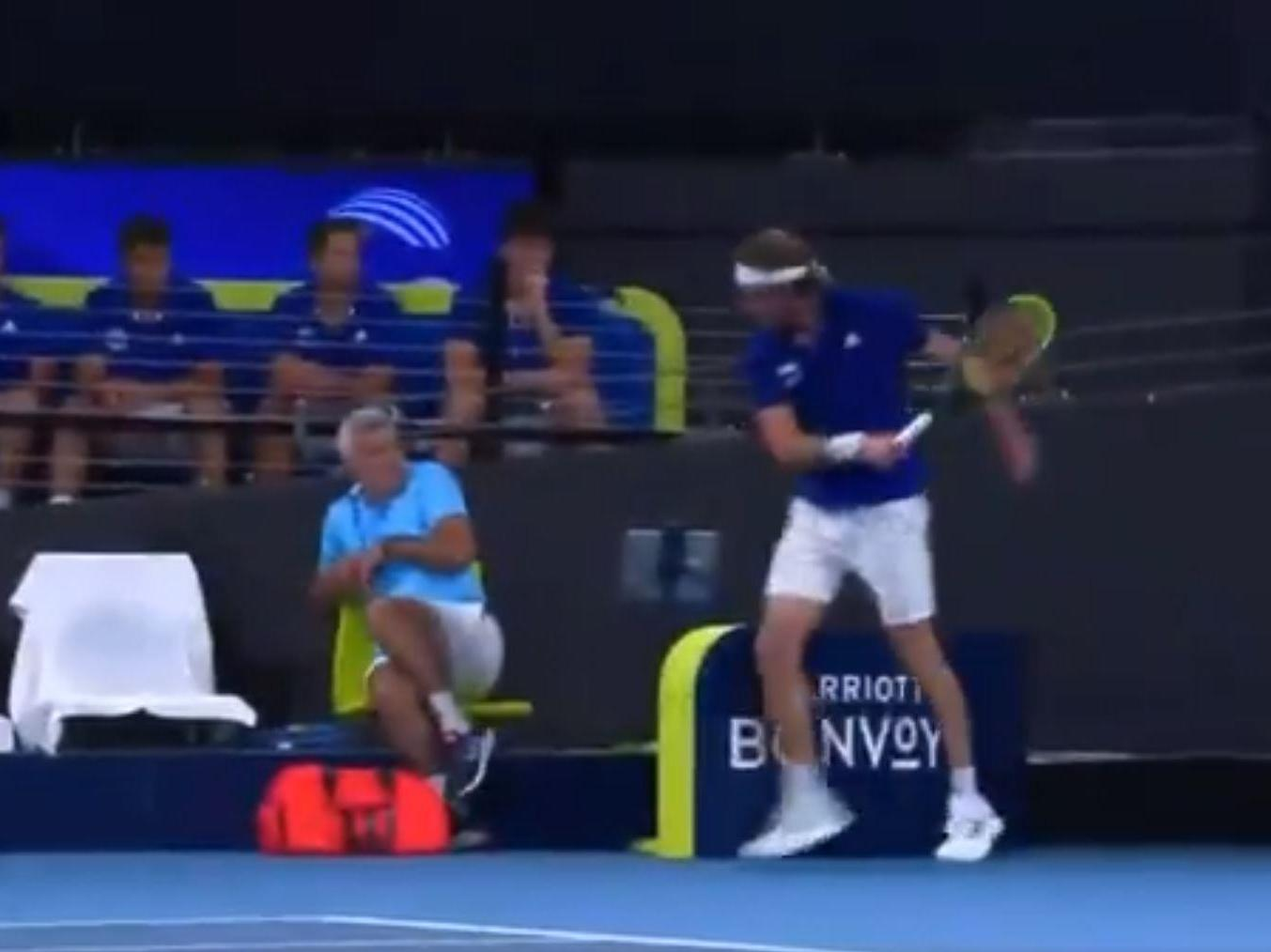 Stefanos Tsitsipas Video Tennis Player Hits Father With Racket After Mid Match Meltdown The Independent The Independent