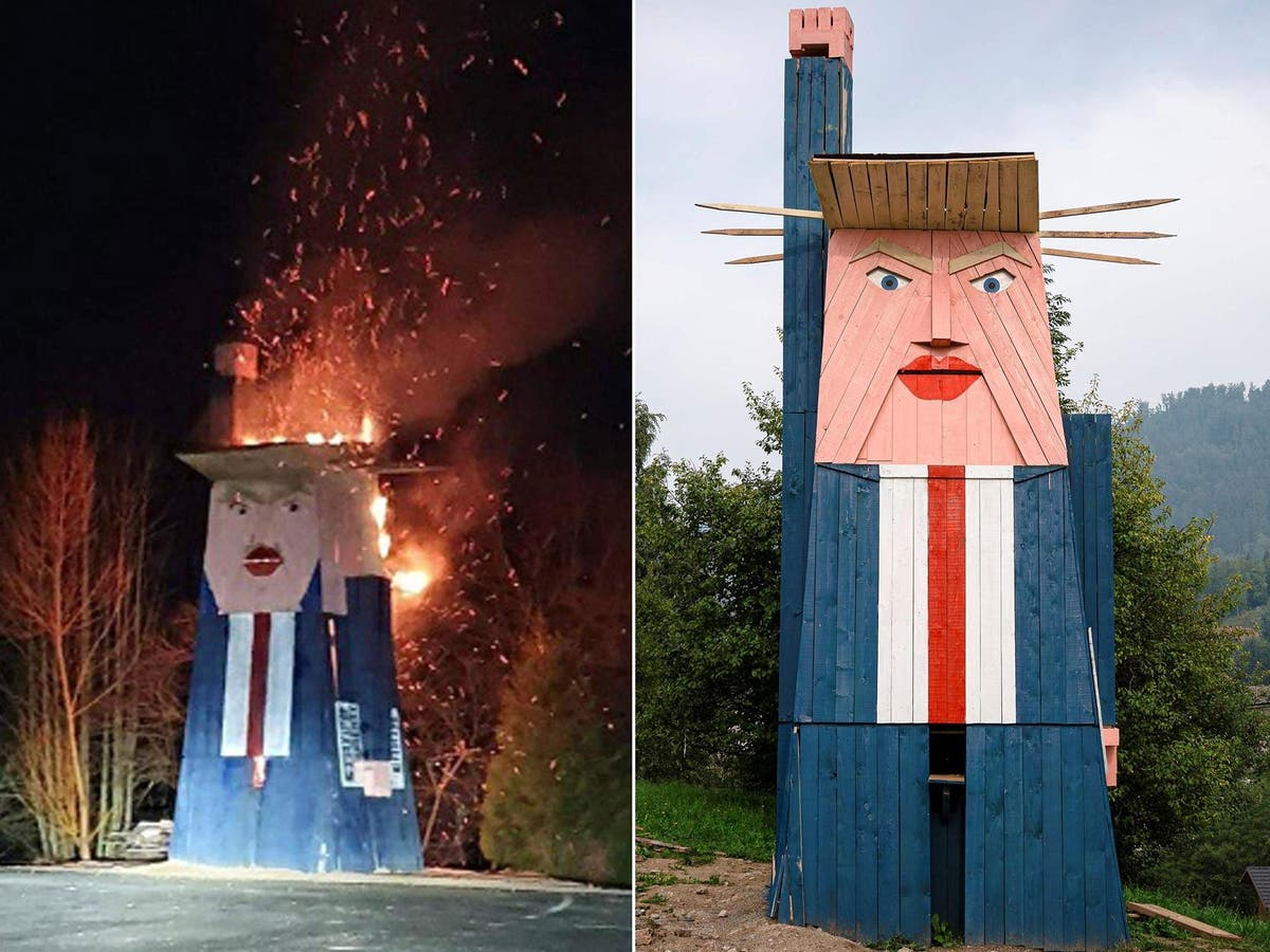 Trump Statue Burned To Ground In Slovenia The Independent The Independent