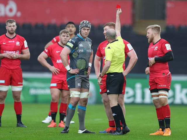 Rhys Carre was sent off in the fifth minute of Saracens' victory over Ospreys