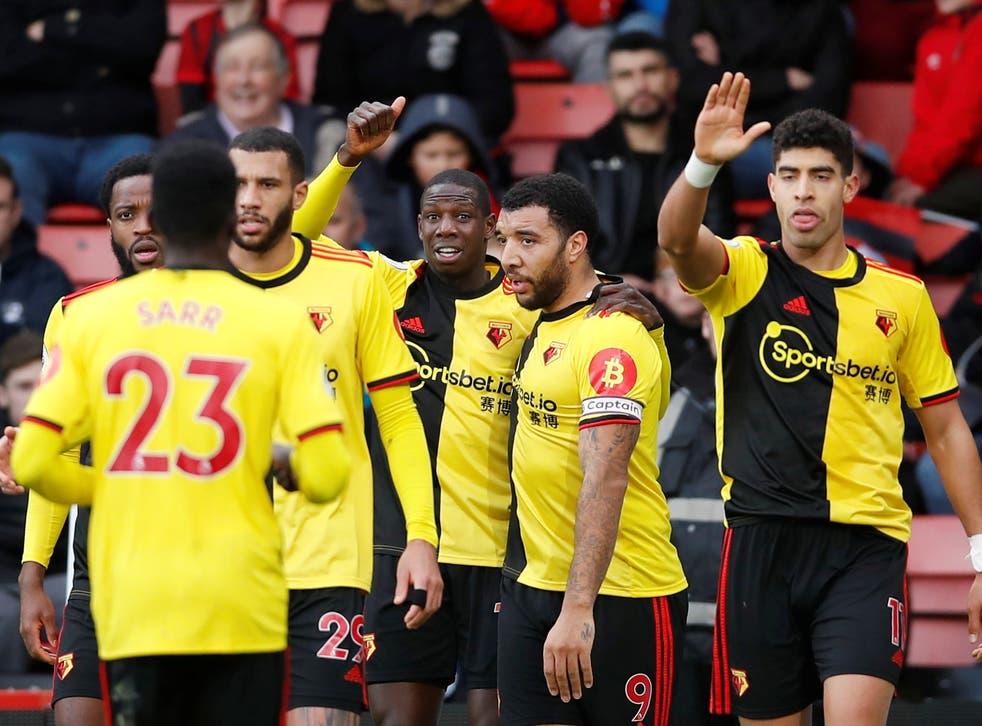 Watford celebrate Abdoulaye Doucoure's opening goal