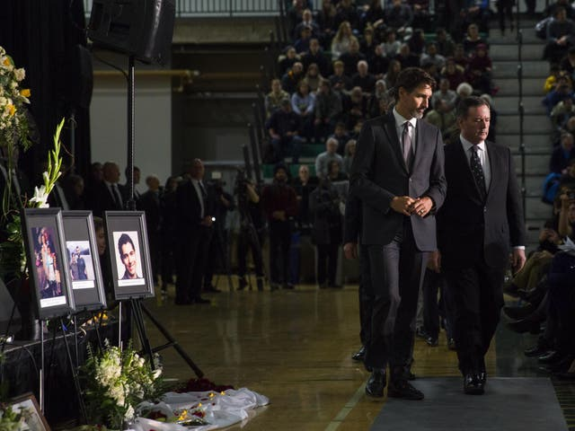 Justin Trudeau, the prime minister of Canada, at a vigil for victims of the Iran plane disaster