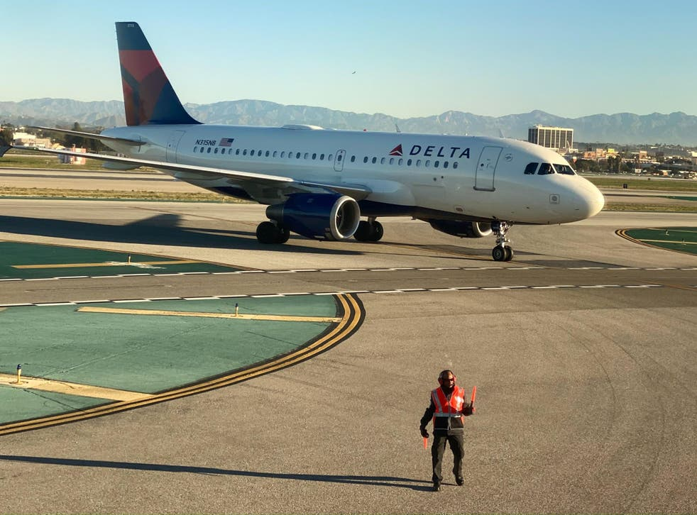 A Delta Air Lines jet at Los Angeles International Airport