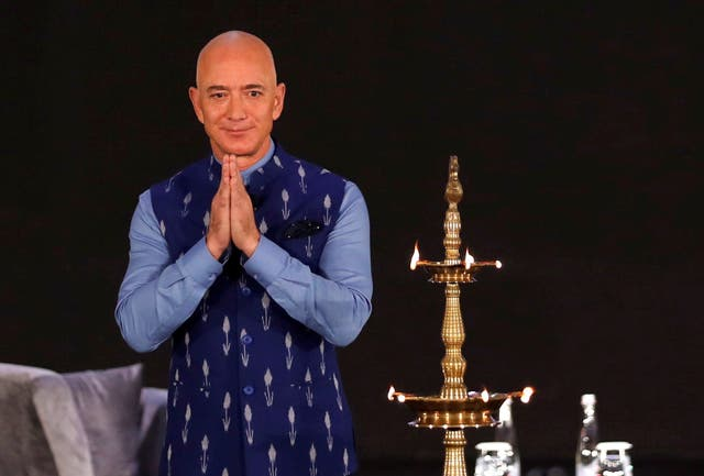 Jeff Bezos, founder of Amazon, attends a company event in Delhi on Wednesday