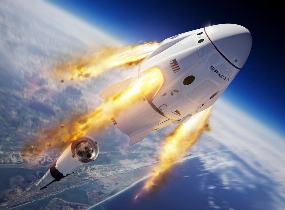Illustration of the SpaceX Crew Dragon and Falcon 9 rocket during the In-Flight Abort Test for Nasa's Commercial Crew Program