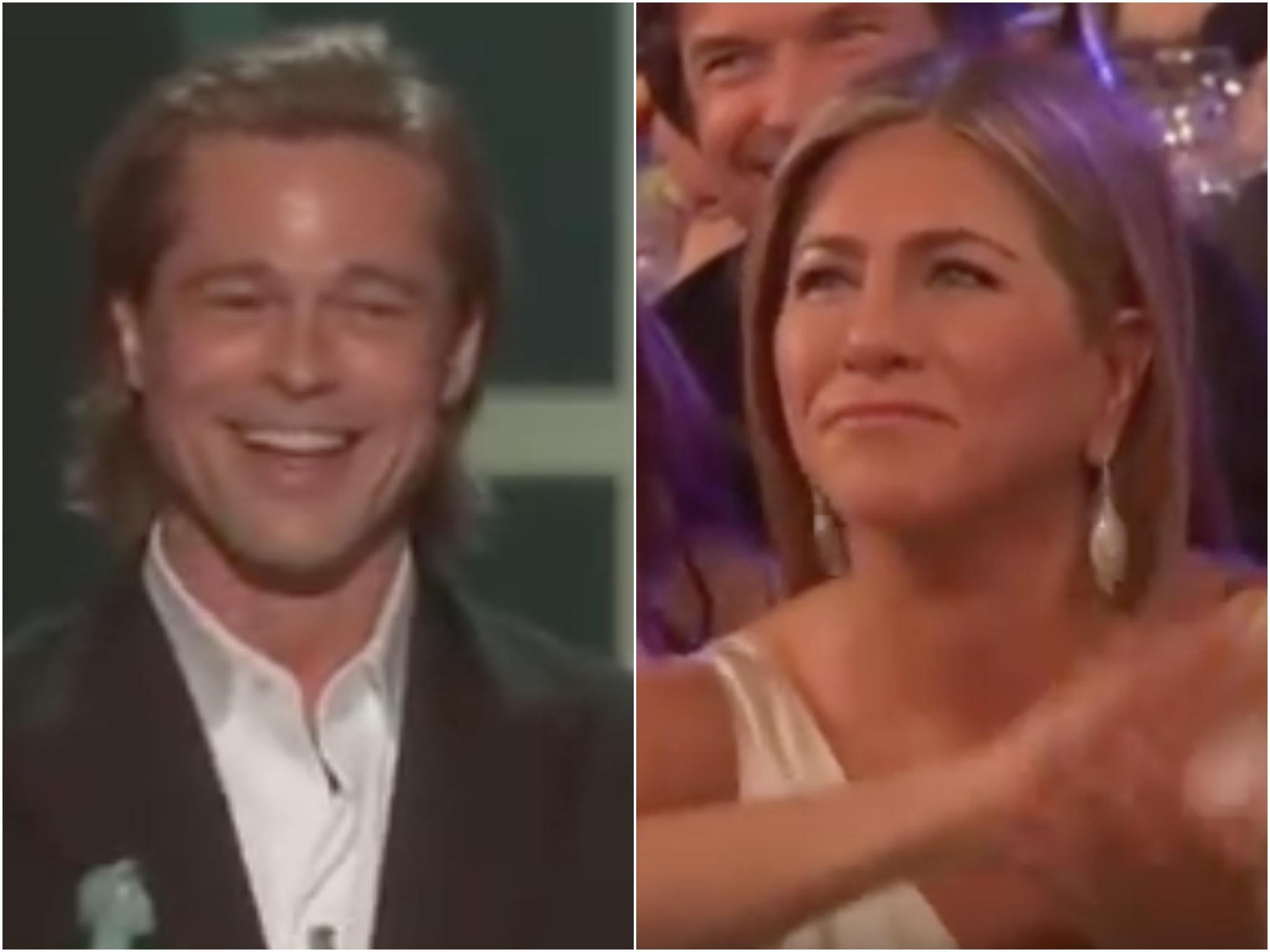 Brad Pitt jokes about failed marriages in SAG Awards speech as Jennifer Aniston watches on