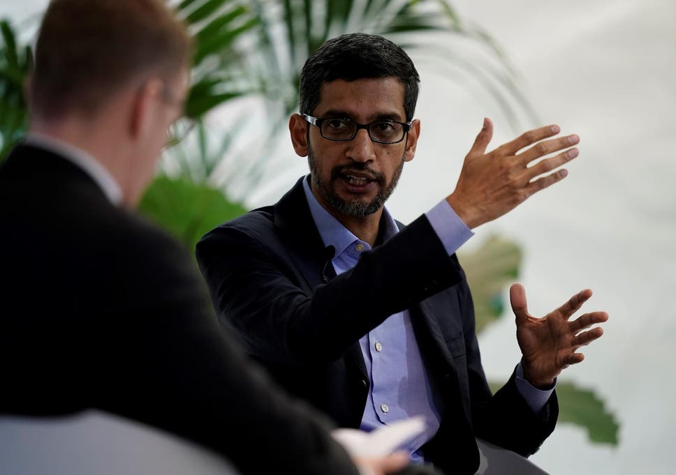 Google CEO Sundar Pichai speaks during a conference in Brussels on January 20, 2020