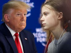 Greta Thunberg and Trump exchange glares and veiled barbs at Davos