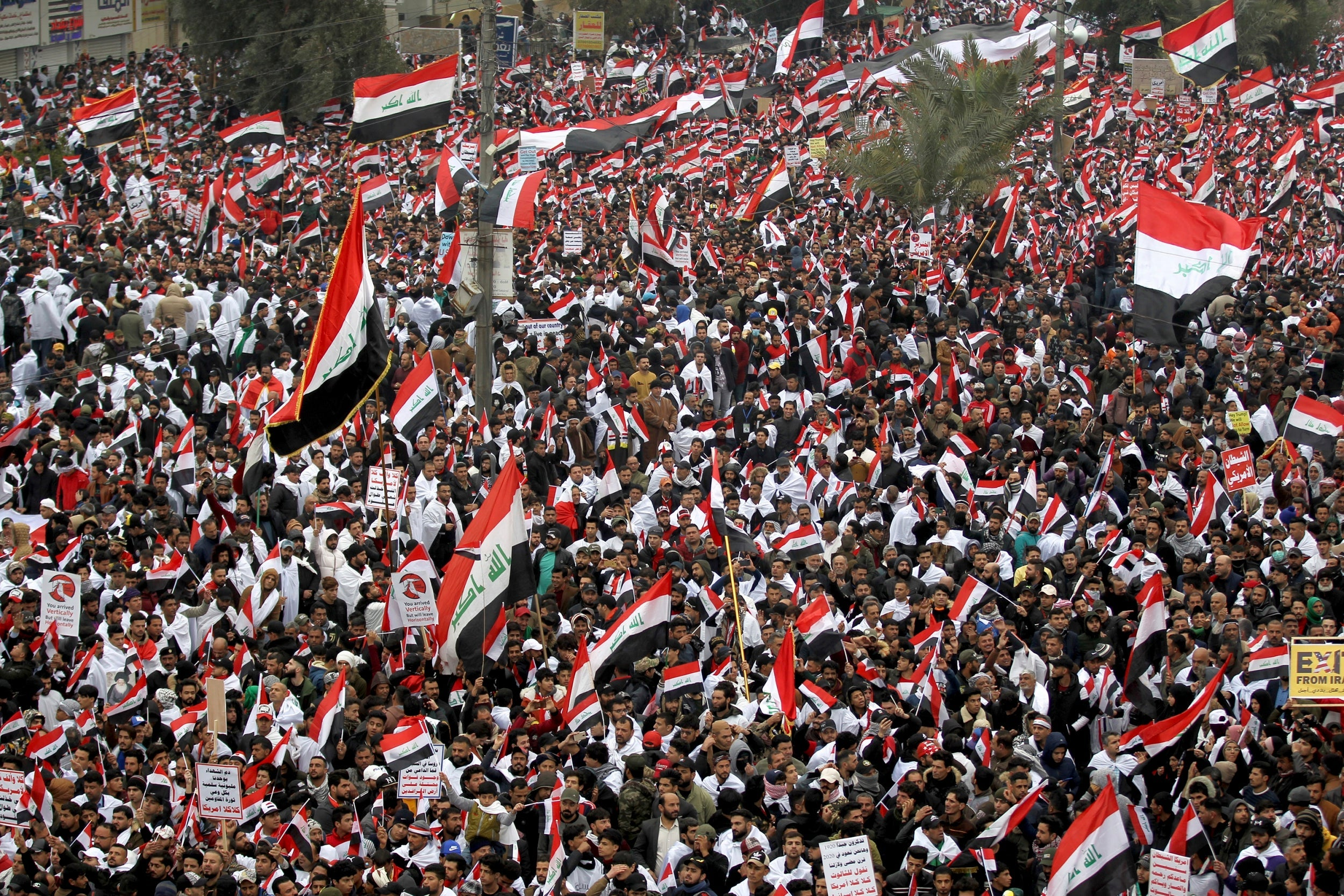 'No, no America': Thousands march in Iraq to demand US forces leave