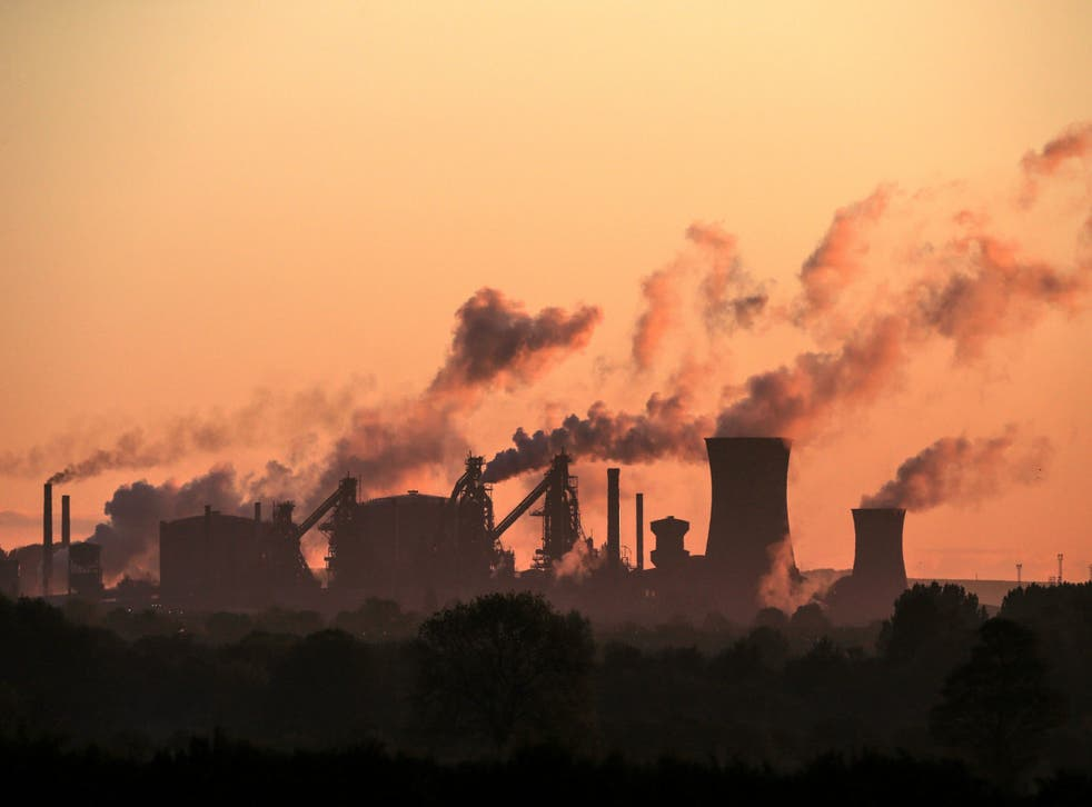 British Steel's Scunthorpe plant is pictured at dawn in north Lincolnshire