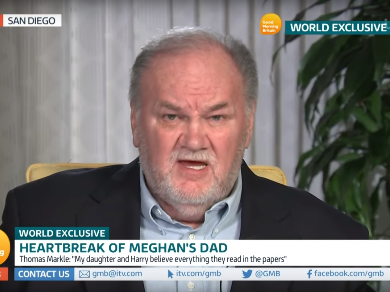 Thomas Markle 'hadn't noticed' racism aimed at Meghan and says private jet criticism was 'justified'