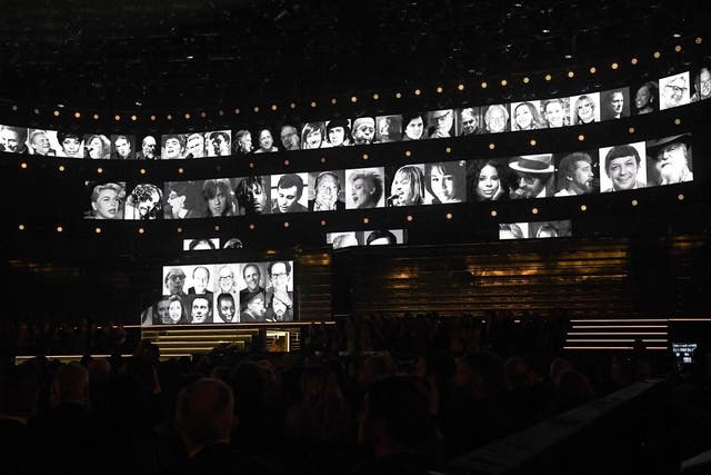 The in memoriam tribute plays during the 62nd Annual Grammys at Staples Center on 26 January 2020 in Los Angeles, California.