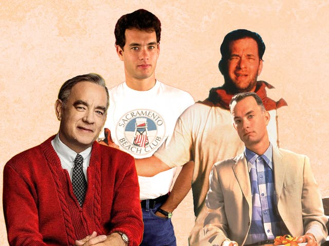 Battling with their darker instincts: Hanks in (from left) 'A Beautiful Day in the Neighborhood', 'Big', 'Cast Away' and 'Forrest Gump'