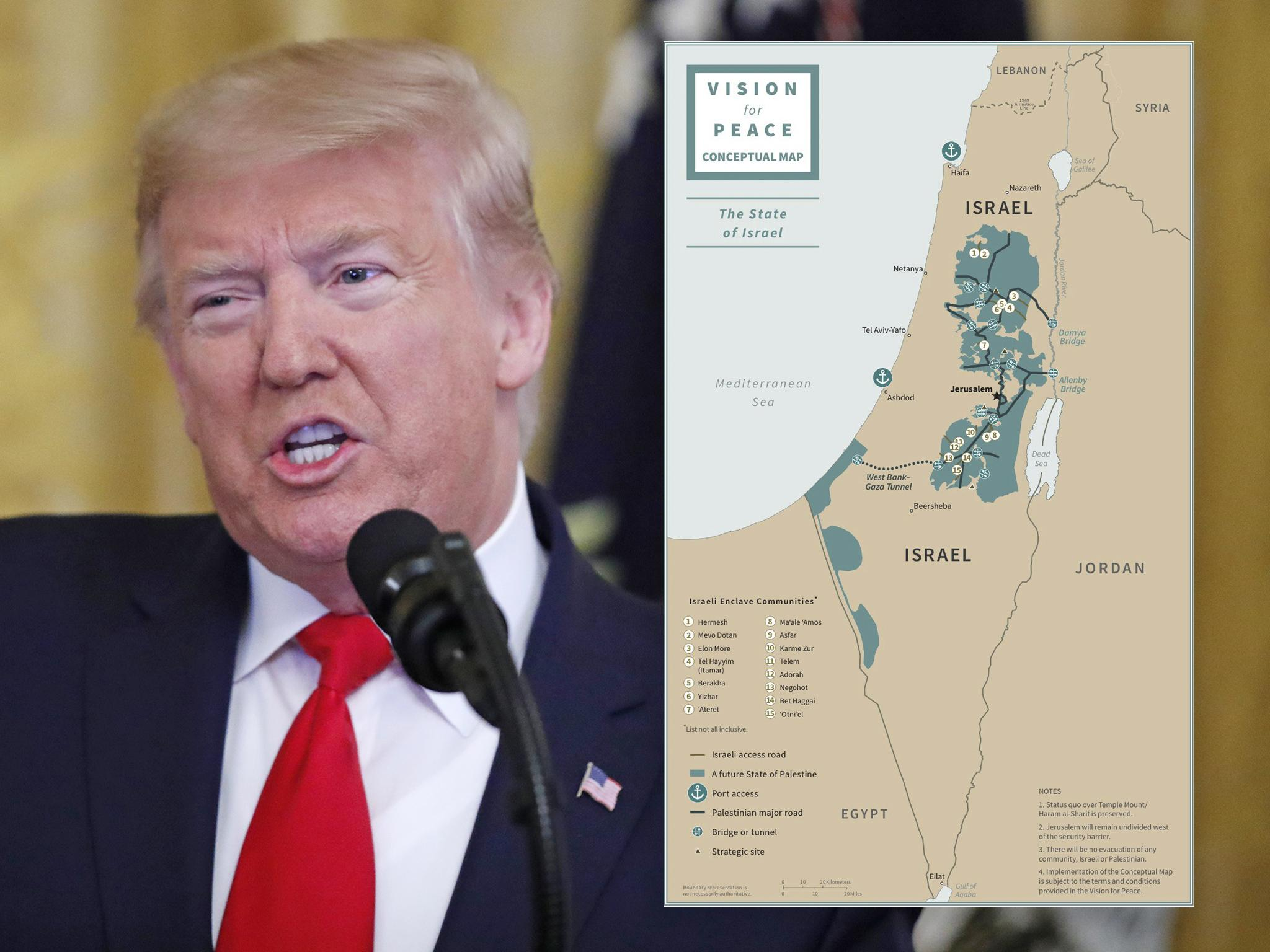 trump peace conceptual map comp - Deal of the century or 'path to apartheid'? Inside Trump's divisive peace plan
