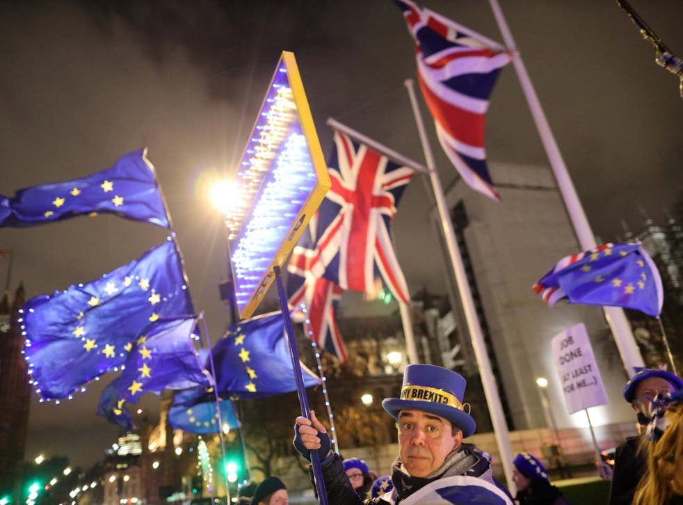 Anti-Brexit protesters demonstrate outside the Houses of Parliament on Thursday
