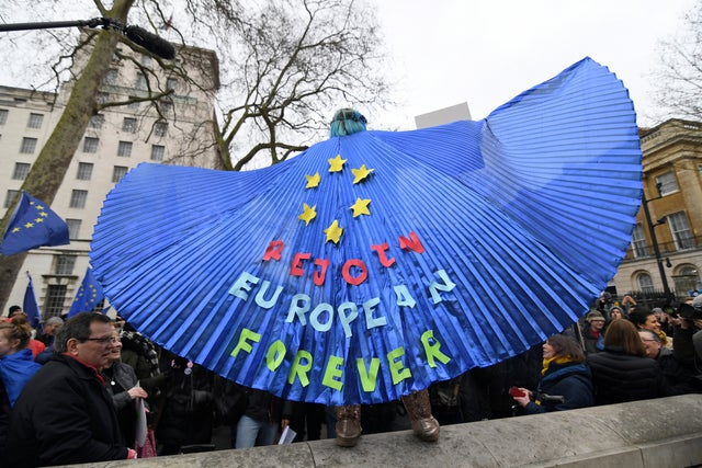 An anti-Brexit demonstrator spreads his wings during a gathering near Downing Street
