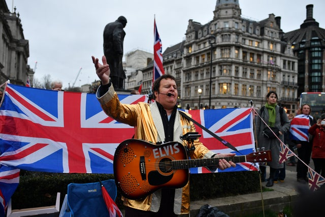 Pro Brexit Elvis impersonator performs at Parliament Square