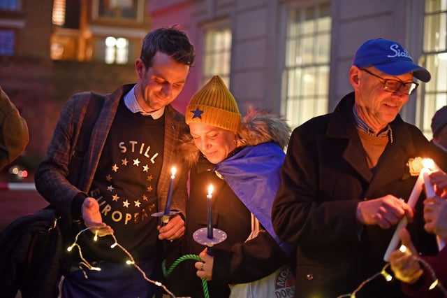 Pro-EU supporters light candles in Smith Square in Westminster