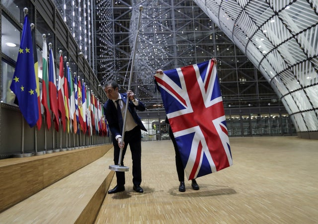 EU Council staff removed the Union Jack-British flag from the European Council in Brussels, Belgium