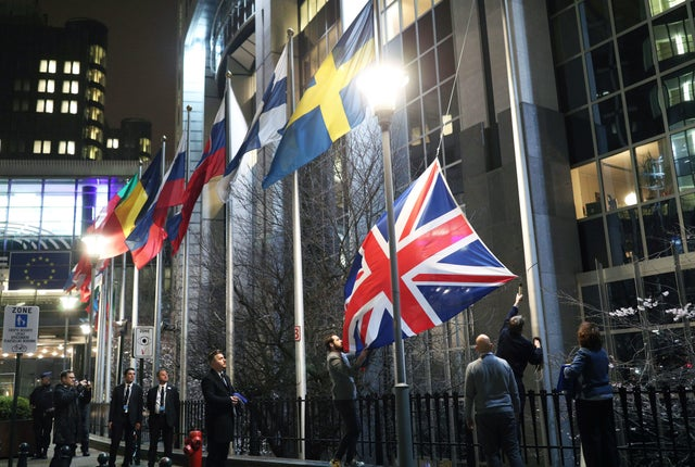 The Union flag is taken down outside the European Parliament in Brussels