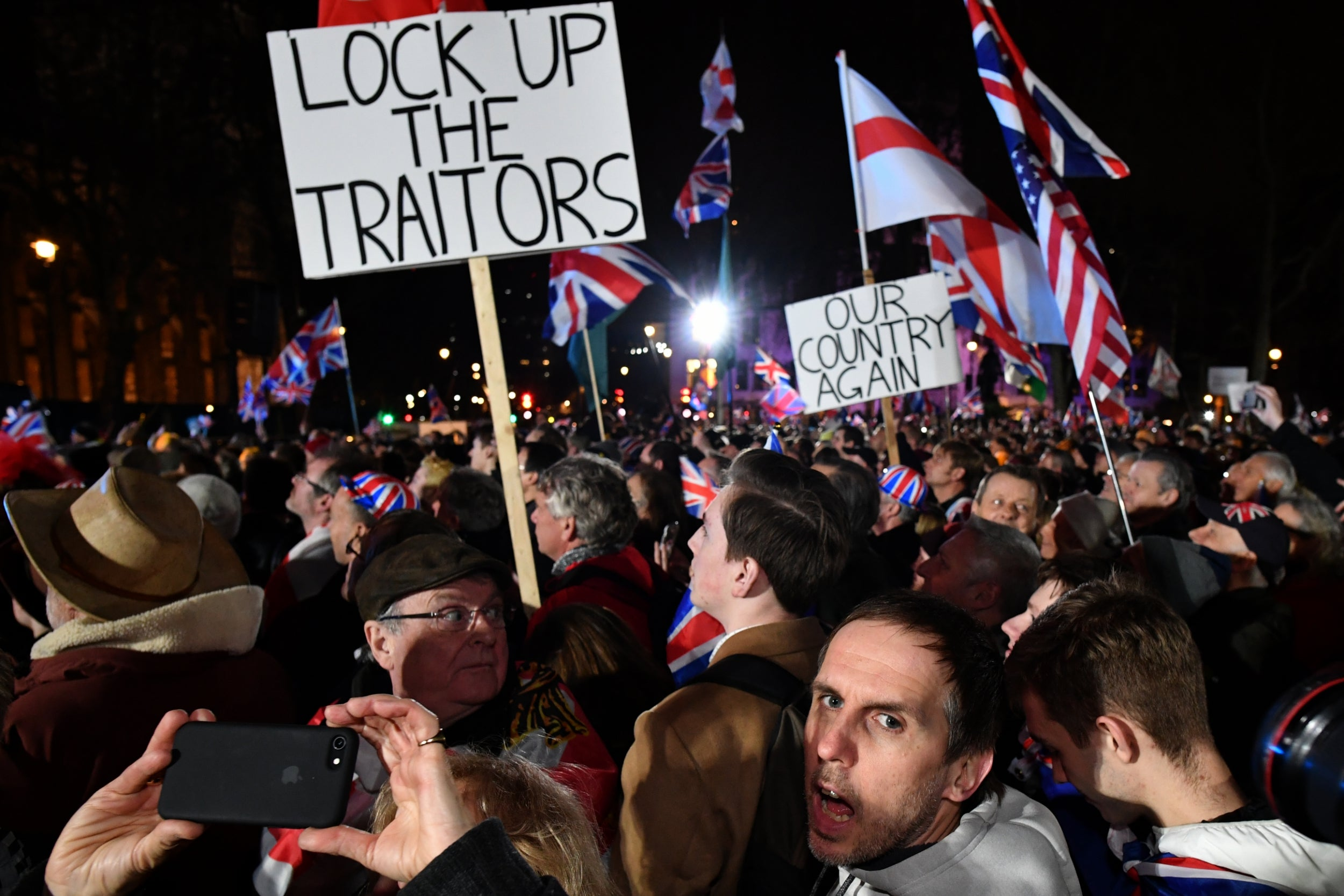 Image result for brexit day celebrations far right