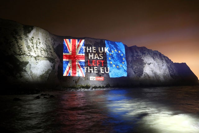 A message projected onto the White Cliffs of Dover