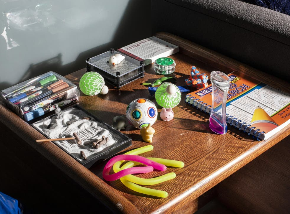 Sensory items on a table for students at the Student Accessibility Support Center at Stony Brook University New York