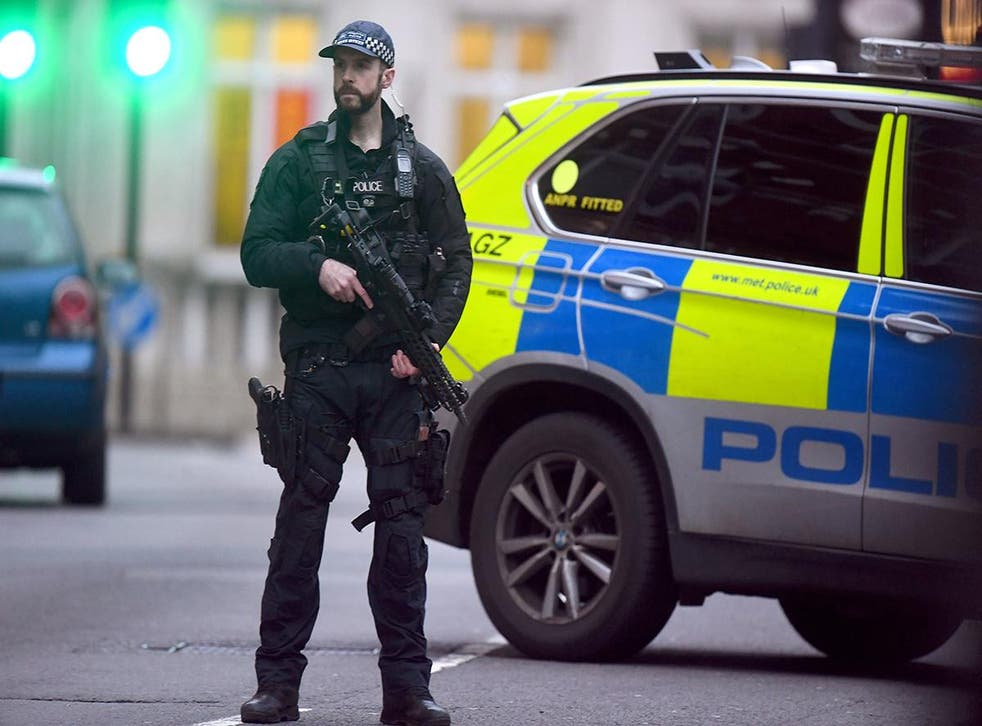 Armed police at the scene after the Streatham attack this year