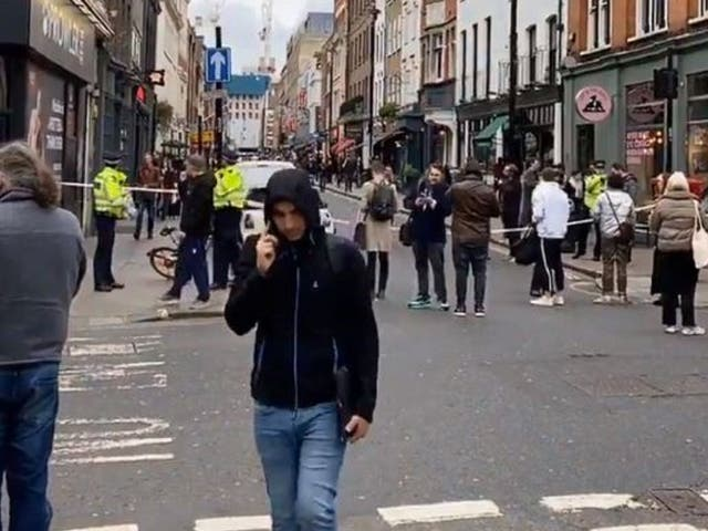 Screen grab from video of a police cordon in Dean Street, Soho, central London, where a suspected unexploded Second World War bomb has been found, 3 February, 2020.