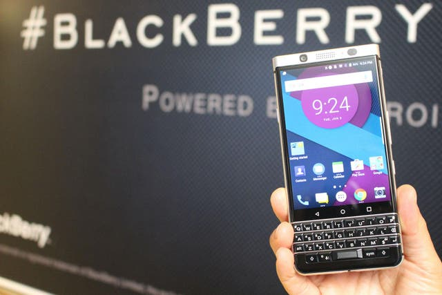 A soon-to-be released new BlackBerry smartphone, name and price yet to be revealed, is shown off behind closed doors at the Consumer Electronics Show in Las Vegas on January 4, 2017