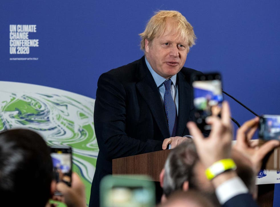 <p>Boris Johnson speaks during the launch of the UK-hosted Cop26 UN climate summit</p>