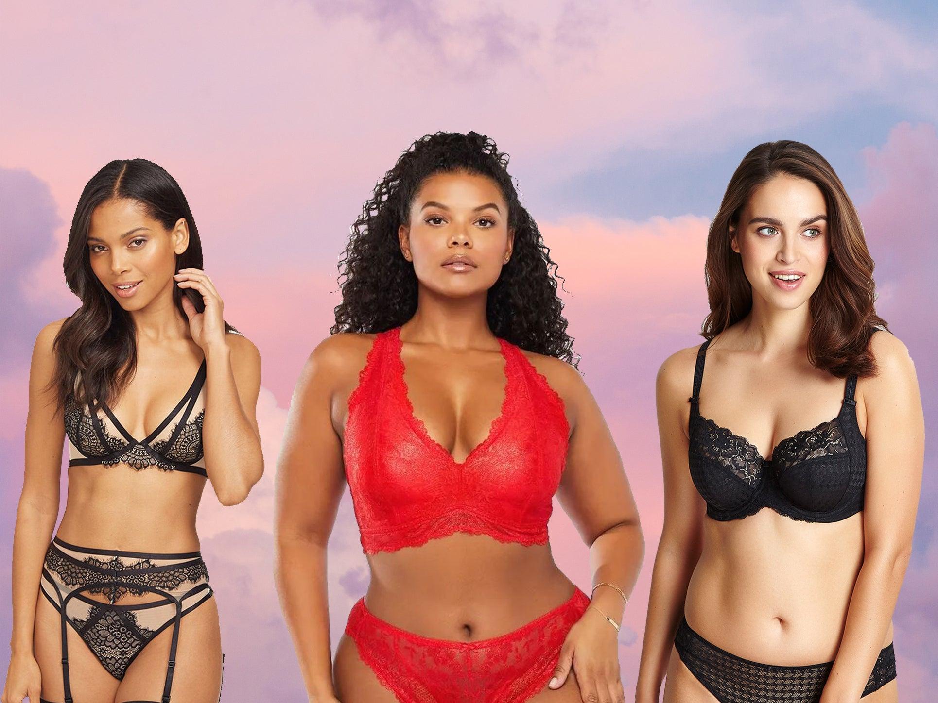 Sheer Lace Bra Set Womens Bralett Crop Top Non-padded Strapless Black Lingerie