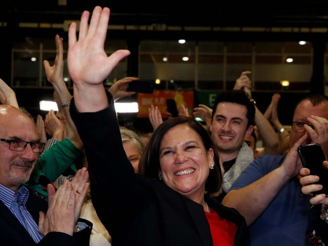 Sinn Féin leader Mary Lou McDonald reacts after the announcement of voting results in a count centre during Ireland's national election in Dublin on 9 February 2020