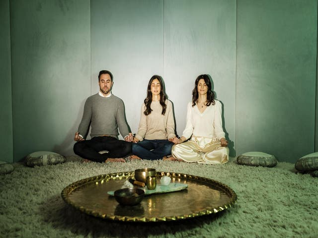 Meditation's what you need: (from left) Kane Sarhan, Rebecca Parekh and Sarrah Hallock, founders of the Well, in the club's meditation dome