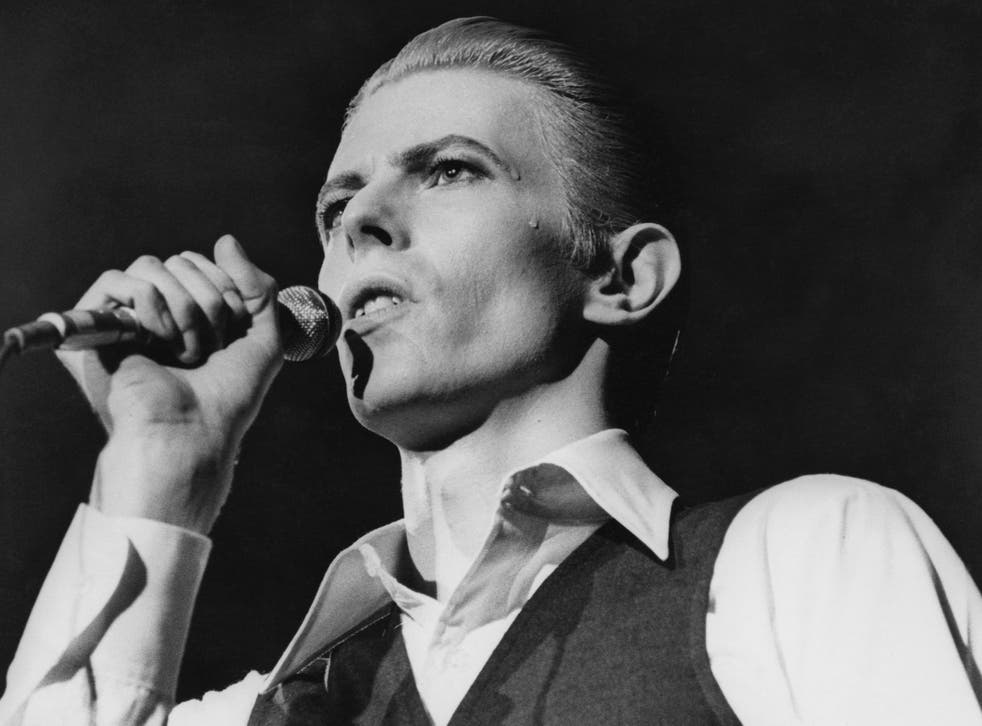 David Bowie in concert at Wembley, May 1976